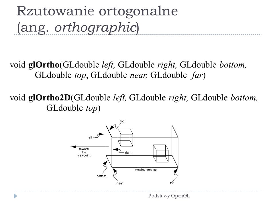 Rzutowanie ortogonalne (ang. orthographic ) Podstawy OpenGL void glOrtho(GLdouble left, GLdouble right, GLdouble bottom, GLdouble top, GLdouble near,