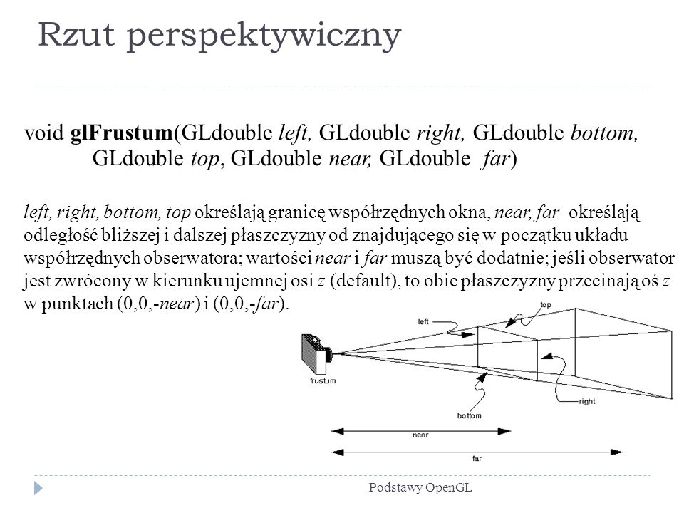 Rzut perspektywiczny Podstawy OpenGL void glFrustum(GLdouble left, GLdouble right, GLdouble bottom, GLdouble top, GLdouble near, GLdouble far) left, r