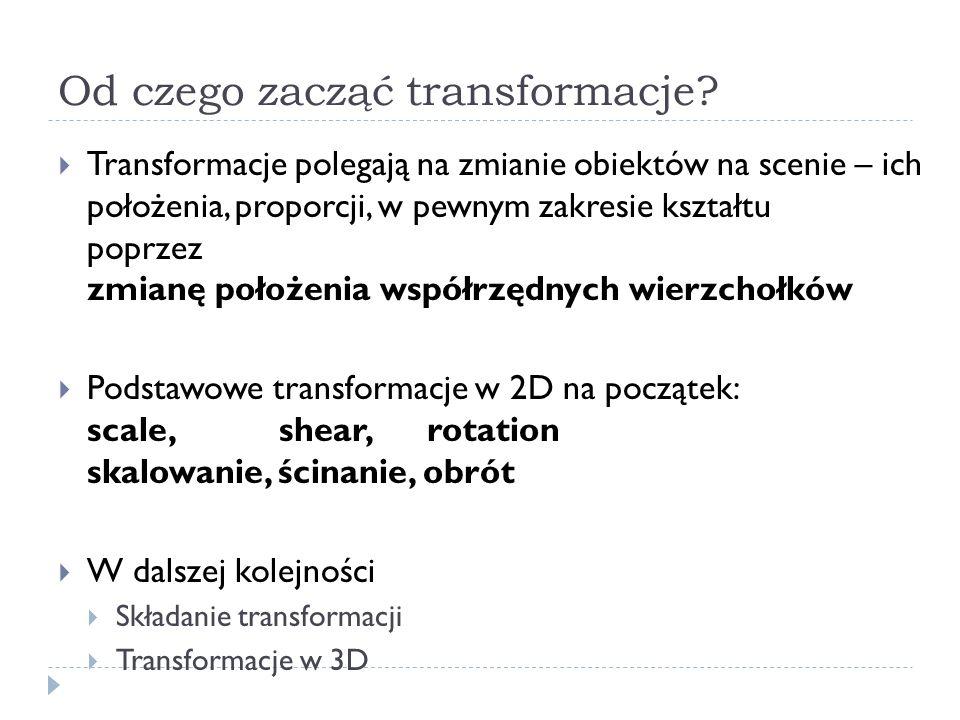 Kolejność transformacji Podstawy OpenGL Przykład: glMatrixMode(GL_MODELVIEW); glLoadIdentity(); glMultMatrixf(N); /*transformation N */ glMultMatrixf(M); /*transformation M */ glMultMatrixf(L); /*transformation L */ glBegin(GL_POINTS); glVertex3f(v); /*rysuj vertex v */ glEnd();