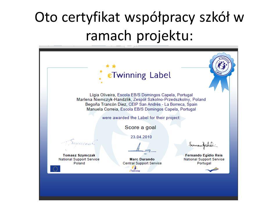 Oto certyfikat współpracy szkół w ramach projektu: