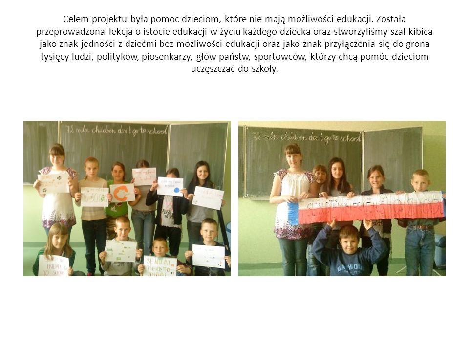 Celem projektu była pomoc dzieciom, które nie mają możliwości edukacji.