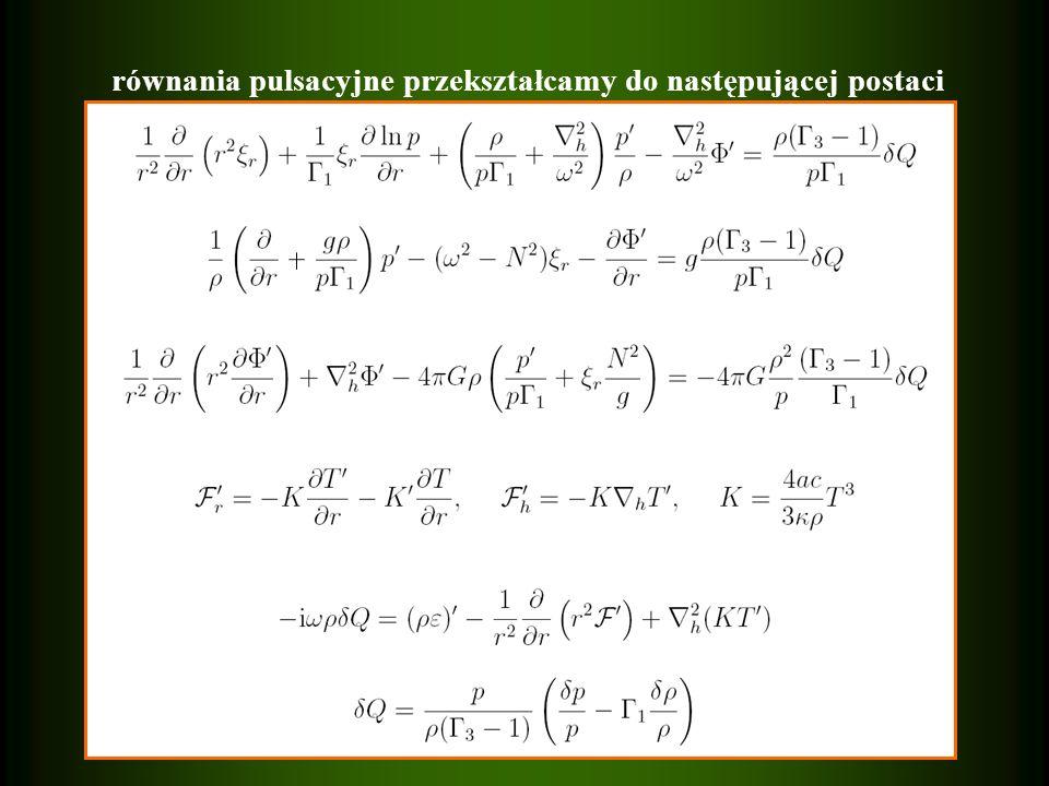 równania pulsacyjne przekształcamy do następującej postaci
