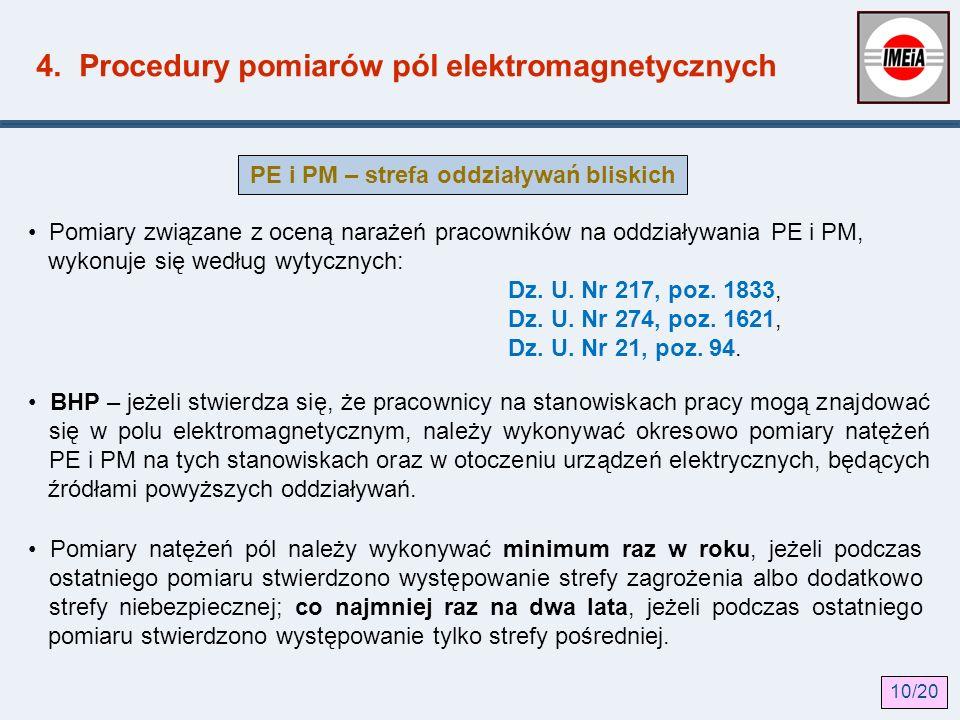 4. Procedury pomiarów pól elektromagnetycznych Pomiary związane z oceną narażeń pracowników na oddziaływania PE i PM, wykonuje się według wytycznych: