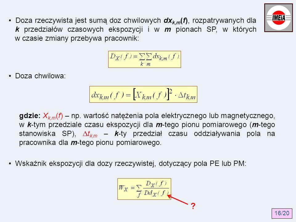 Doza rzeczywista jest sumą doz chwilowych dx k,m (f), rozpatrywanych dla k przedziałów czasowych ekspozycji i w m pionach SP, w których w czasie zmian