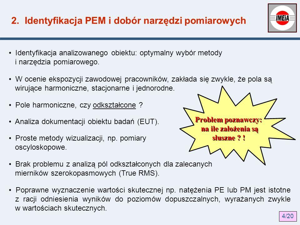 2. Identyfikacja PEM i dobór narzędzi pomiarowych Identyfikacja analizowanego obiektu: optymalny wybór metody i narzędzia pomiarowego. W ocenie ekspoz