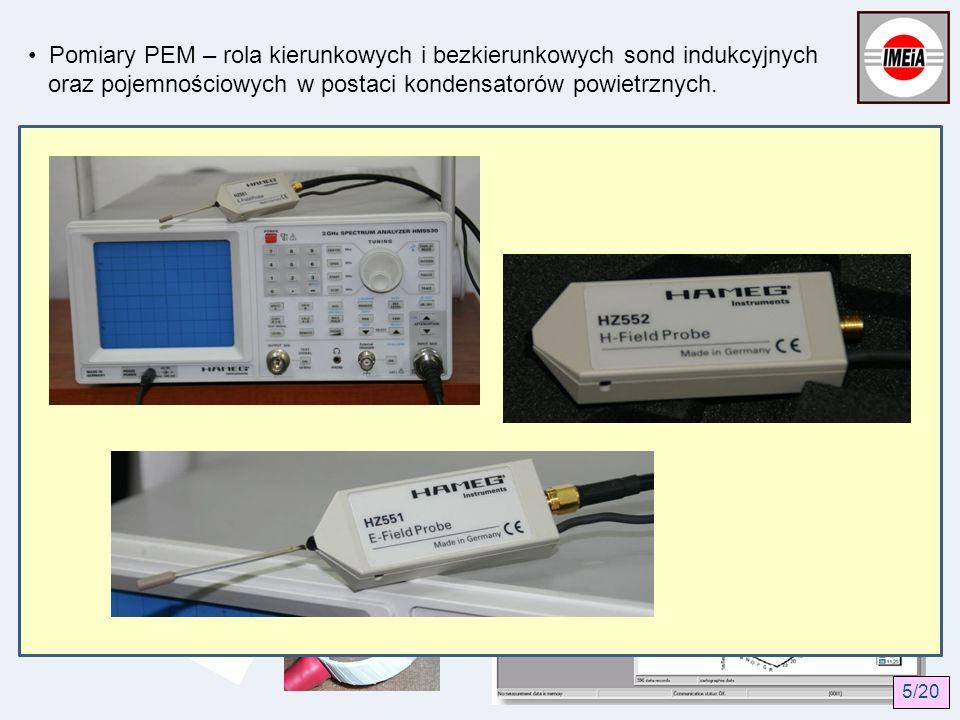 Pomiary PEM – rola kierunkowych i bezkierunkowych sond indukcyjnych oraz pojemnościowych w postaci kondensatorów powietrznych. PN T 06580 zaleca stoso