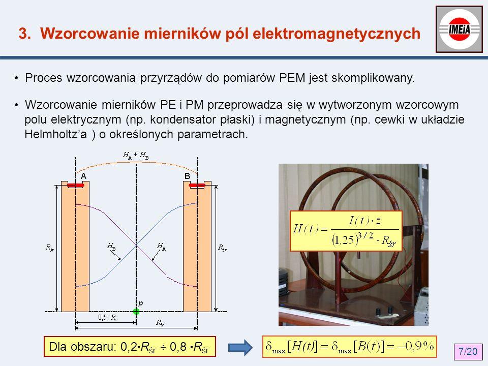 3. Wzorcowanie mierników pól elektromagnetycznych Proces wzorcowania przyrządów do pomiarów PEM jest skomplikowany. Wzorcowanie mierników PE i PM prze