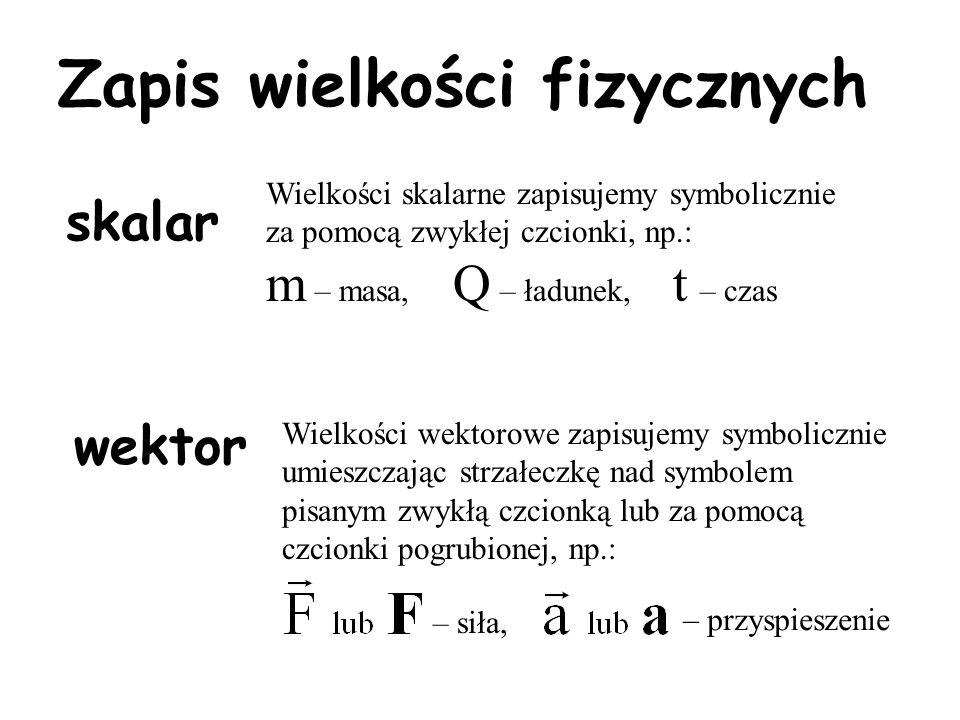 Zapis wielkości fizycznych skalar wektor Wielkości skalarne zapisujemy symbolicznie za pomocą zwykłej czcionki, np.: m – masa, Q – ładunek, t – czas Wielkości wektorowe zapisujemy symbolicznie umieszczając strzałeczkę nad symbolem pisanym zwykłą czcionką lub za pomocą czcionki pogrubionej, np.: – siła, – przyspieszenie