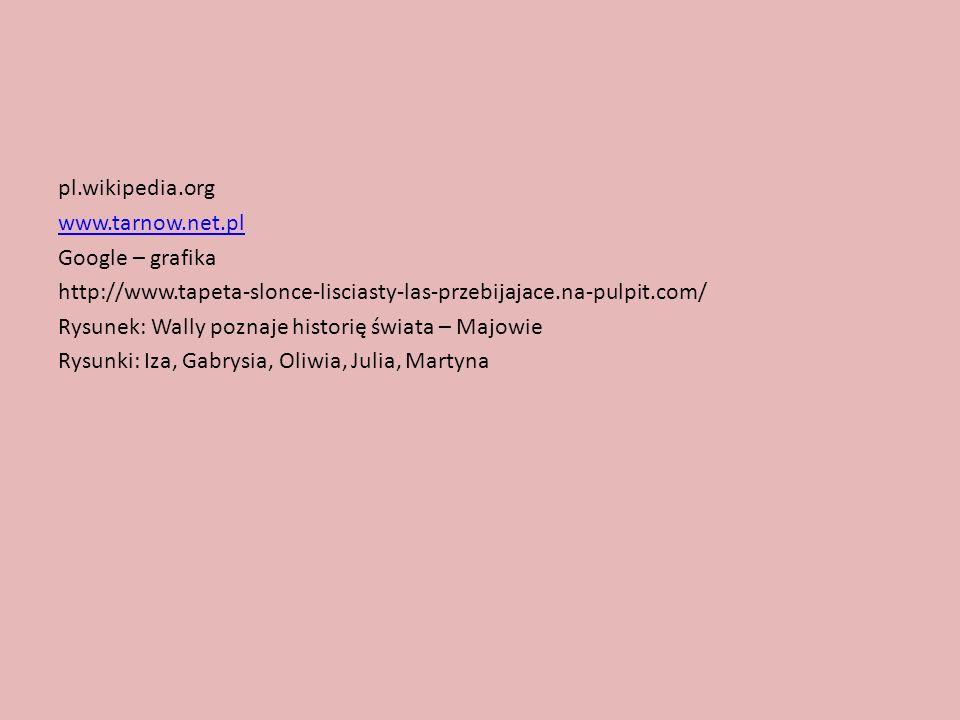 pl.wikipedia.org www.tarnow.net.pl Google – grafika http://www.tapeta-slonce-lisciasty-las-przebijajace.na-pulpit.com/ Rysunek: Wally poznaje historię świata – Majowie Rysunki: Iza, Gabrysia, Oliwia, Julia, Martyna