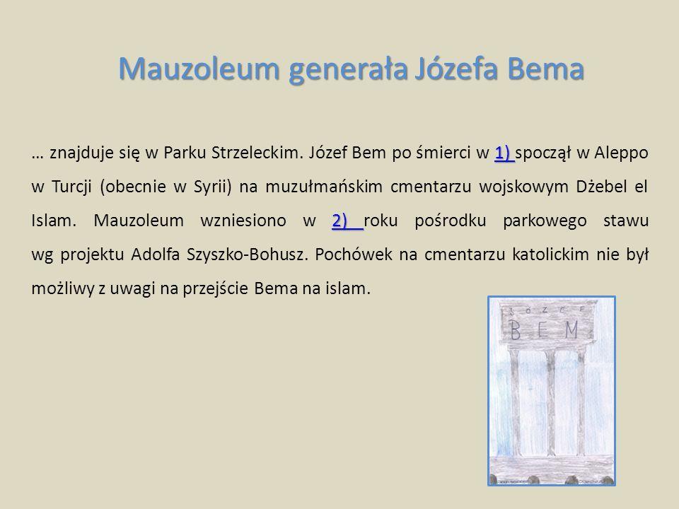 3) 4) 3) 4) Prostokąty sarkofag wznosi się na 3) korynckich kolumnach otoczonych kulami.