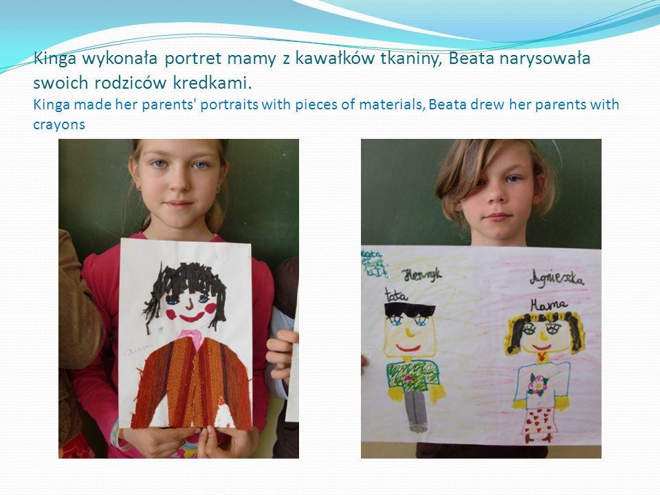 Ewa użyła tkaniny i włóczki. Eve used the fabric and yarn.