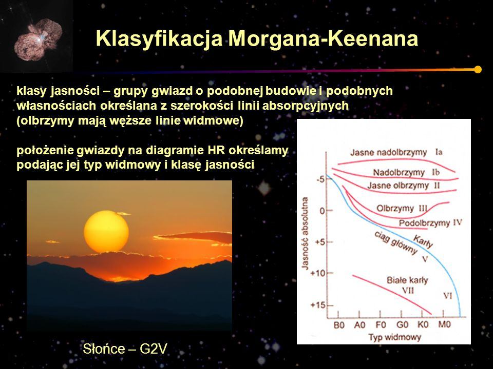 klasy jasności – grupy gwiazd o podobnej budowie i podobnych własnościach określana z szerokości linii absorpcyjnych (olbrzymy mają węższe linie widmo