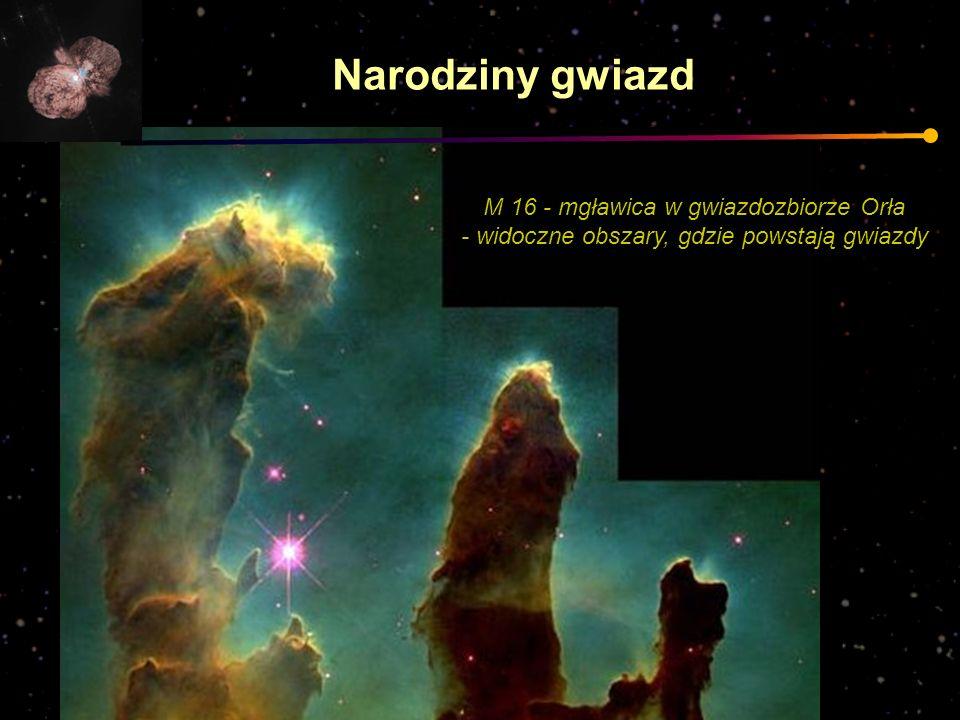 M 16 - mgławica w gwiazdozbiorze Orła - widoczne obszary, gdzie powstają gwiazdy Narodziny gwiazd