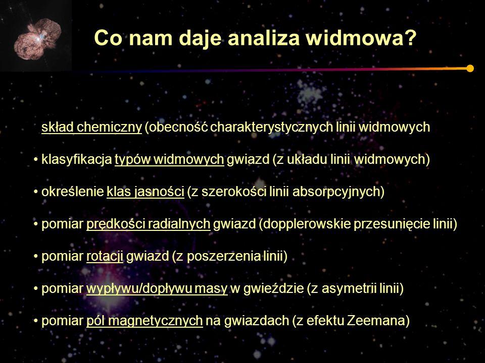 skład chemiczny (obecność charakterystycznych linii widmowych klasyfikacja typów widmowych gwiazd (z układu linii widmowych) określenie klas jasności
