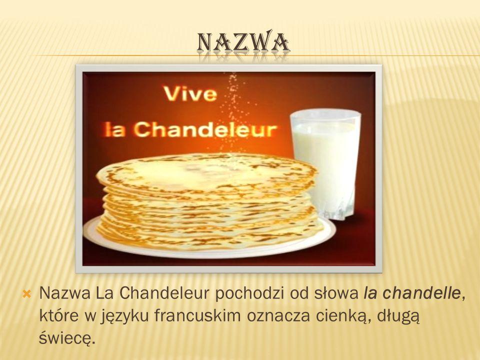 Nazwa La Chandeleur pochodzi od słowa la chandelle, które w języku francuskim oznacza cienką, długą świecę.