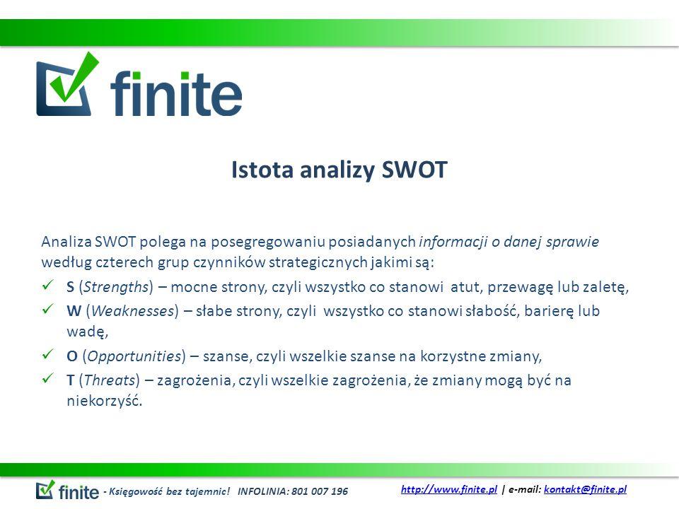 Istota analizy SWOT Analiza SWOT polega na posegregowaniu posiadanych informacji o danej sprawie według czterech grup czynników strategicznych jakimi są: S (Strengths) – mocne strony, czyli wszystko co stanowi atut, przewagę lub zaletę, W (Weaknesses) – słabe strony, czyli wszystko co stanowi słabość, barierę lub wadę, O (Opportunities) – szanse, czyli wszelkie szanse na korzystne zmiany, T (Threats) – zagrożenia, czyli wszelkie zagrożenia, że zmiany mogą być na niekorzyść.