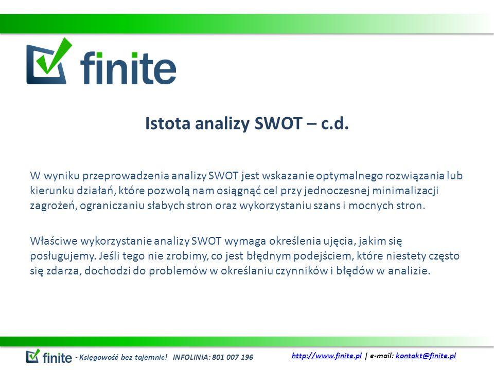 Istota analizy SWOT – c.d.