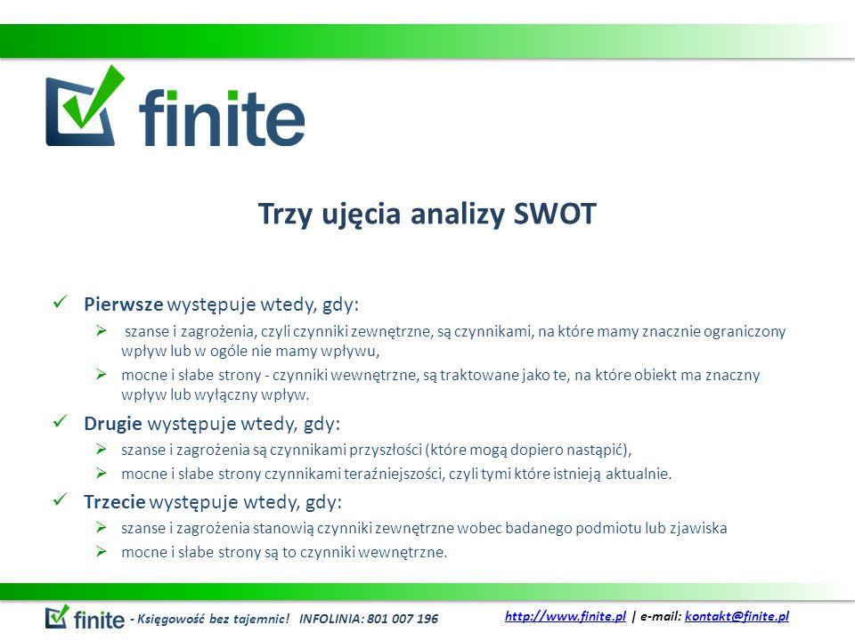 Trzy ujęcia analizy SWOT Pierwsze występuje wtedy, gdy: szanse i zagrożenia, czyli czynniki zewnętrzne, są czynnikami, na które mamy znacznie ograniczony wpływ lub w ogóle nie mamy wpływu, mocne i słabe strony - czynniki wewnętrzne, są traktowane jako te, na które obiekt ma znaczny wpływ lub wyłączny wpływ.