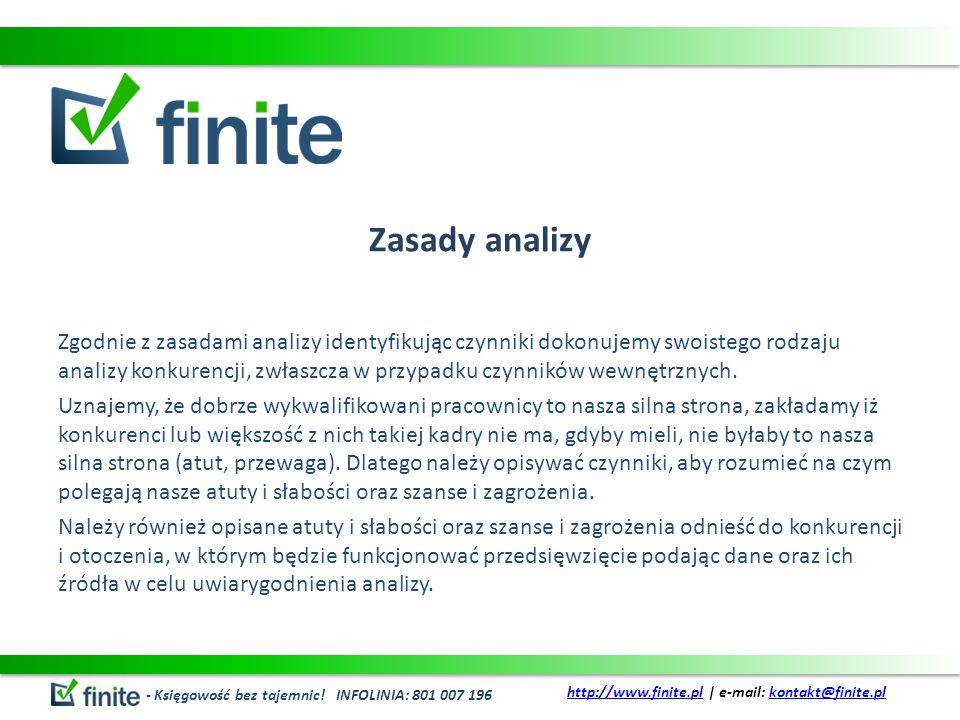 Zasady analizy Zgodnie z zasadami analizy identyfikując czynniki dokonujemy swoistego rodzaju analizy konkurencji, zwłaszcza w przypadku czynników wewnętrznych.