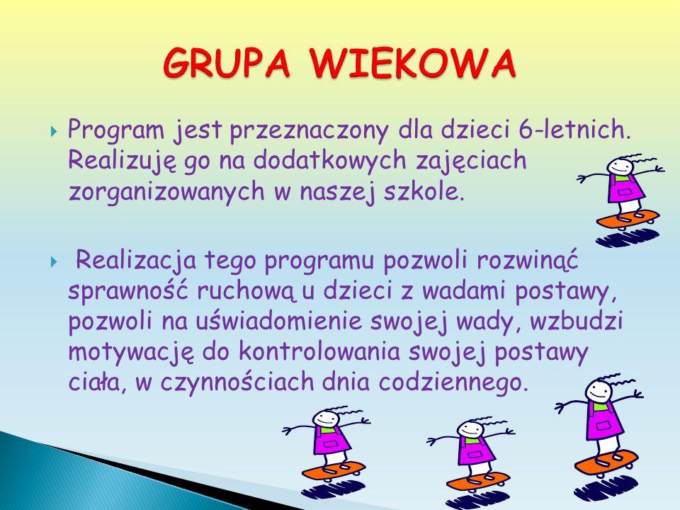 Program jest przeznaczony dla dzieci 6-letnich. Realizuję go na dodatkowych zajęciach zorganizowanych w naszej szkole. Realizacja tego programu pozwol