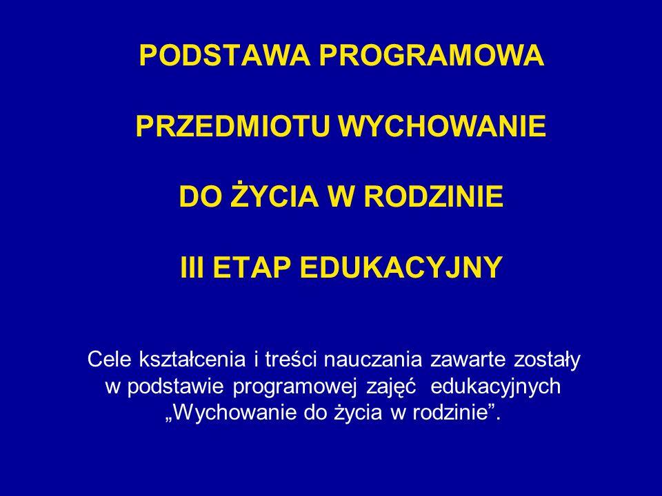 PODSTAWA PROGRAMOWA PRZEDMIOTU WYCHOWANIE DO ŻYCIA W RODZINIE III ETAP EDUKACYJNY Cele kształcenia i treści nauczania zawarte zostały w podstawie prog
