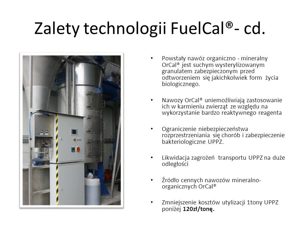 Zalety technologii FuelCal®- cd. Powstały nawóz organiczno - mineralny OrCal® jest suchym wysterylizowanym granulatem zabezpieczonym przed odtworzenie