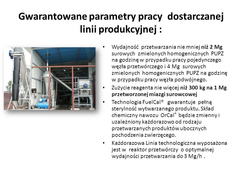 Gwarantowane parametry pracy dostarczanej linii produkcyjnej : Wydajność przetwarzania nie mniej niż 2 Mg surowych zmielonych homogenicznych PUPZ na g
