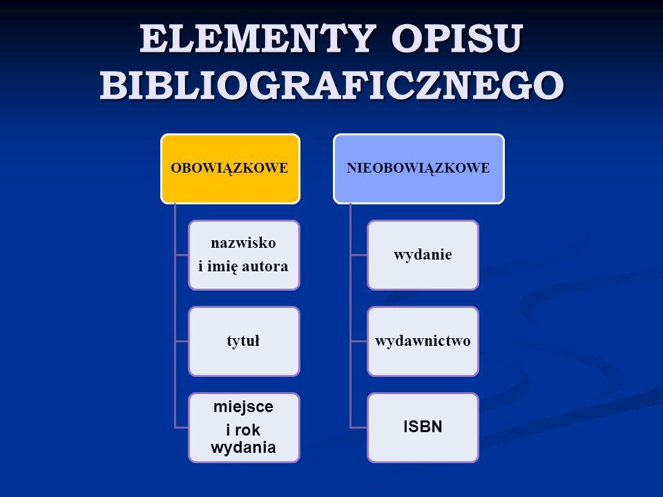 ELEMENTY OPISU BIBLIOGRAFICZNEGO OBOWIĄZKOWE nazwisko i imię autora tytuł miejsce i rok wydania NIEOBOWIĄZKOWE wydaniewydawnictwo ISBN
