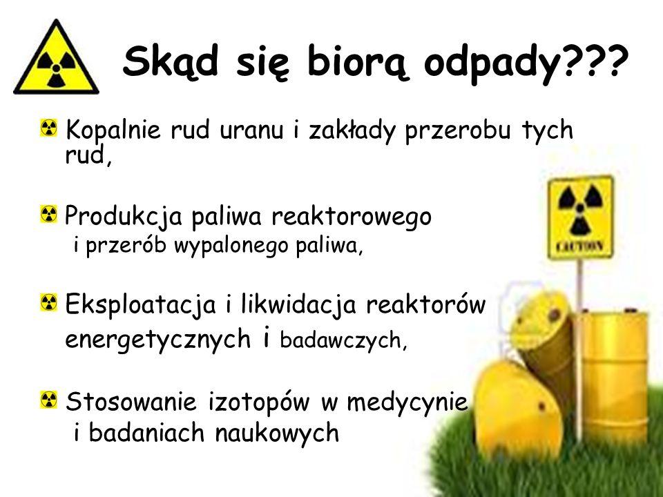Odpady radioaktywne to wszelkiego rodzaju przedmioty, materiały o różnych stanach skupienia, substancje organiczne i nieorganiczne, nie przewidziane d