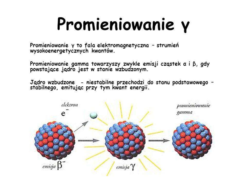 Promieniowanie β + Jądro emituje pozytony e + (cząstki o ładunku dodatnim, równym co do wartości ładunkowi pojedyńczego elektronu) W jądrze proton zamienia się w neutron.