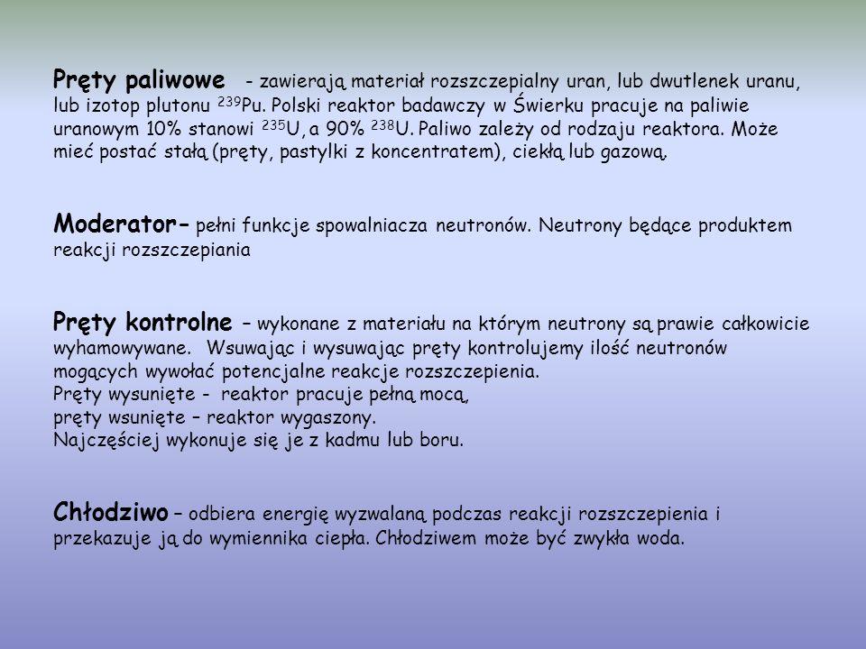Pręty paliwowe - zawierają materiał rozszczepialny uran, lub dwutlenek uranu, lub izotop plutonu 239 Pu.