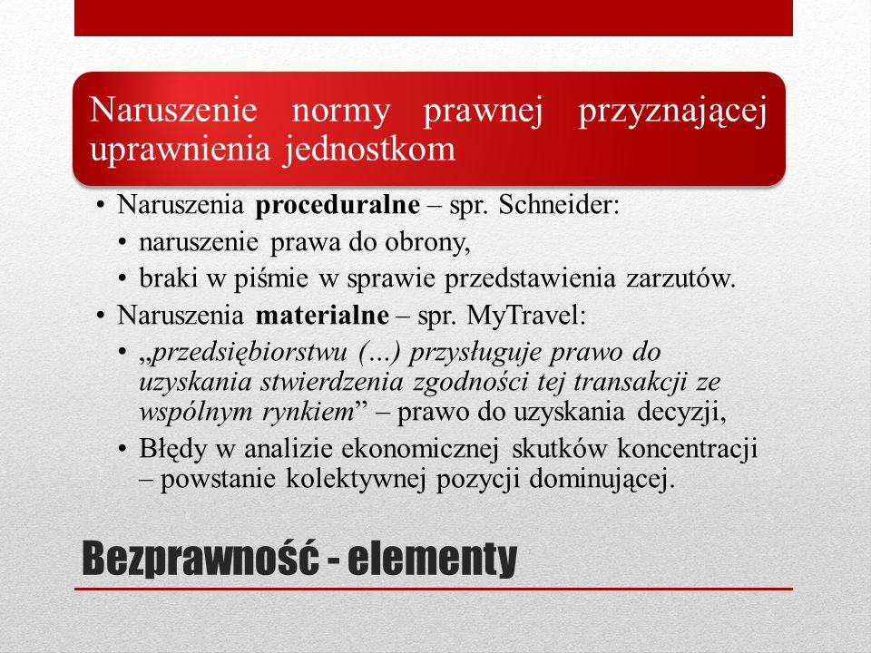 Bezprawność - elementy Naruszenie normy prawnej przyznającej uprawnienia jednostkom Naruszenia proceduralne – spr. Schneider: naruszenie prawa do obro