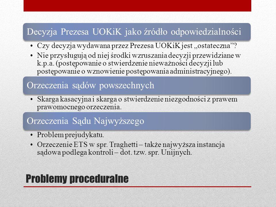 Problemy proceduralne Decyzja Prezesa UOKiK jako źródło odpowiedzialności Czy decyzja wydawana przez Prezesa UOKiK jest ostateczna? Nie przysługują od