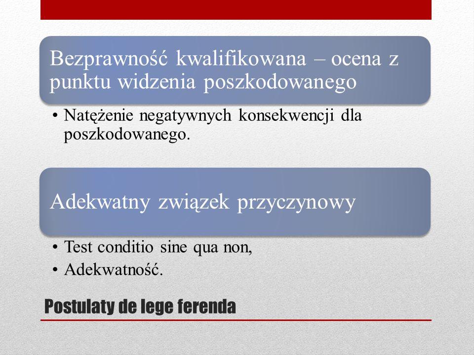 Postulaty de lege ferenda Bezprawność kwalifikowana – ocena z punktu widzenia poszkodowanego Natężenie negatywnych konsekwencji dla poszkodowanego. Ad