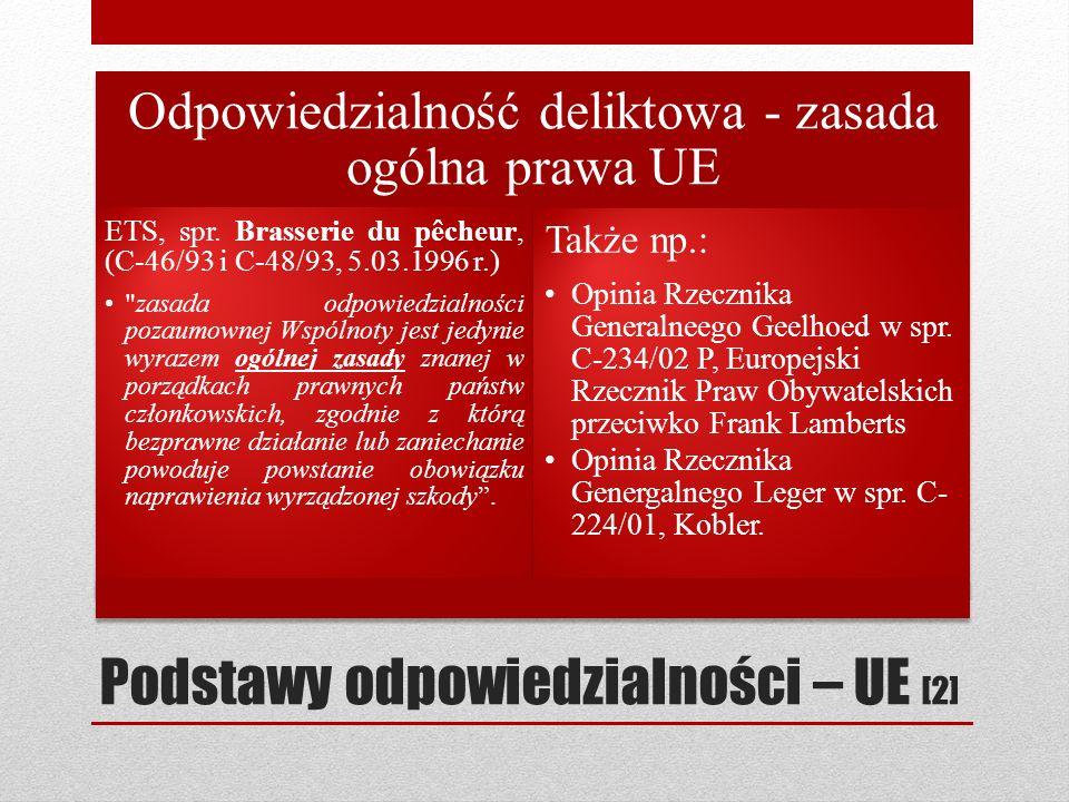 Podstawy odpowiedzialności – UE [2] Odpowiedzialność deliktowa - zasada ogólna prawa UE ETS, spr. Brasserie du pêcheur, (C 46/93 i C 48/93, 5.03.1996