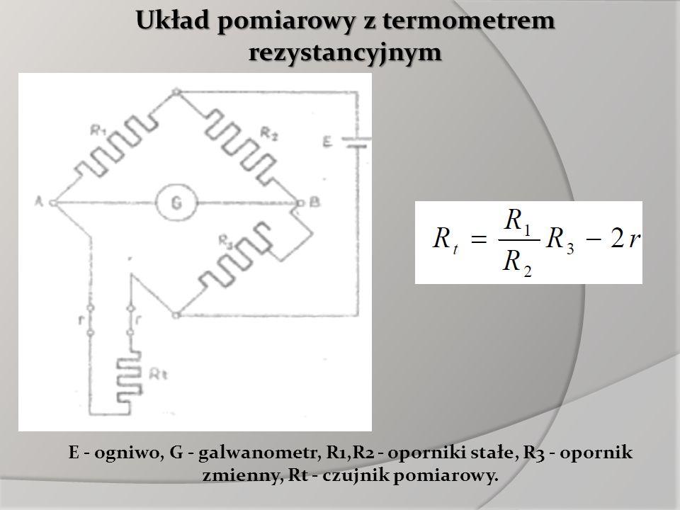 Układ pomiarowy z termometrem rezystancyjnym E - ogniwo, G - galwanometr, R1,R2 - oporniki stałe, R3 - opornik zmienny, Rt - czujnik pomiarowy.