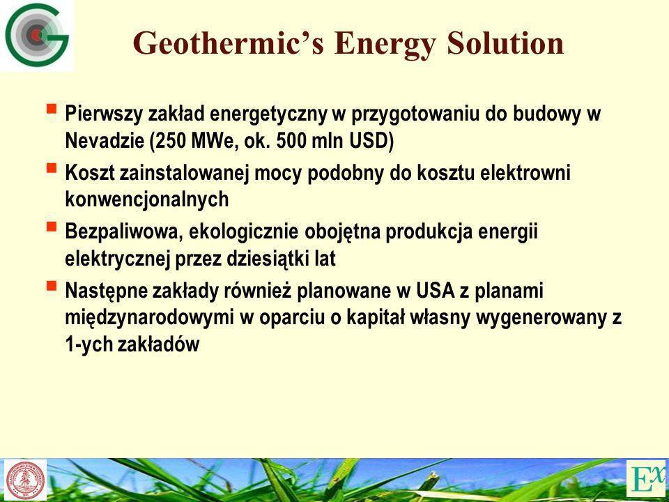 Geothermics Energy Solution Pierwszy zakład energetyczny w przygotowaniu do budowy w Nevadzie (250 MWe, ok. 500 mln USD) Koszt zainstalowanej mocy pod