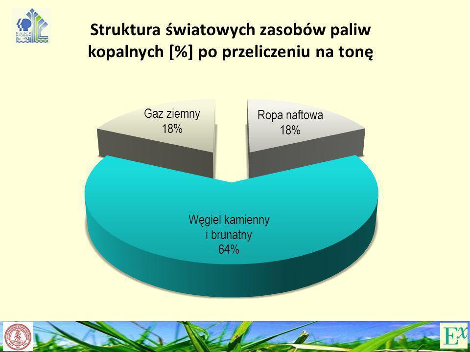 Struktura światowych zasobów paliw kopalnych [%] po przeliczeniu na tonę