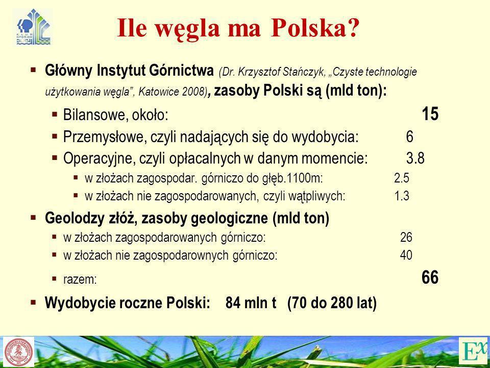 Ile węgla ma Polska? Główny Instytut Górnictwa (Dr. Krzysztof Stańczyk, Czyste technologie użytkowania węgla, Katowice 2008), zasoby Polski są (mld to