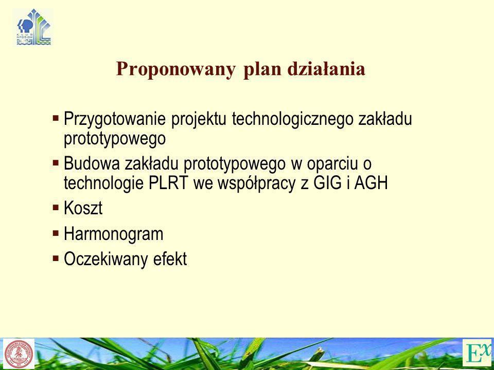 Proponowany plan działania Przygotowanie projektu technologicznego zakładu prototypowego Budowa zakładu prototypowego w oparciu o technologie PLRT we