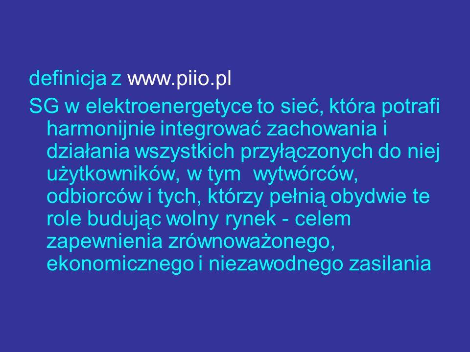 definicja z www.piio.pl SG w elektroenergetyce to sieć, która potrafi harmonijnie integrować zachowania i działania wszystkich przyłączonych do niej u