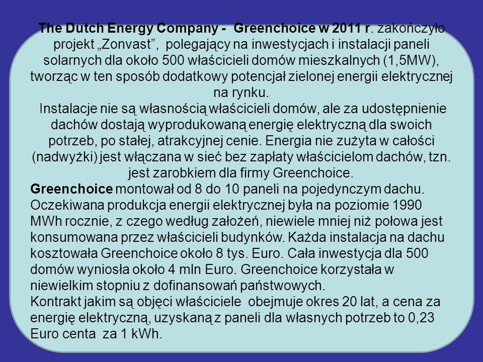 The Dutch Energy Company - Greenchoice w 2011 r. zakończyło projekt Zonvast, polegający na inwestycjach i instalacji paneli solarnych dla około 500 wł