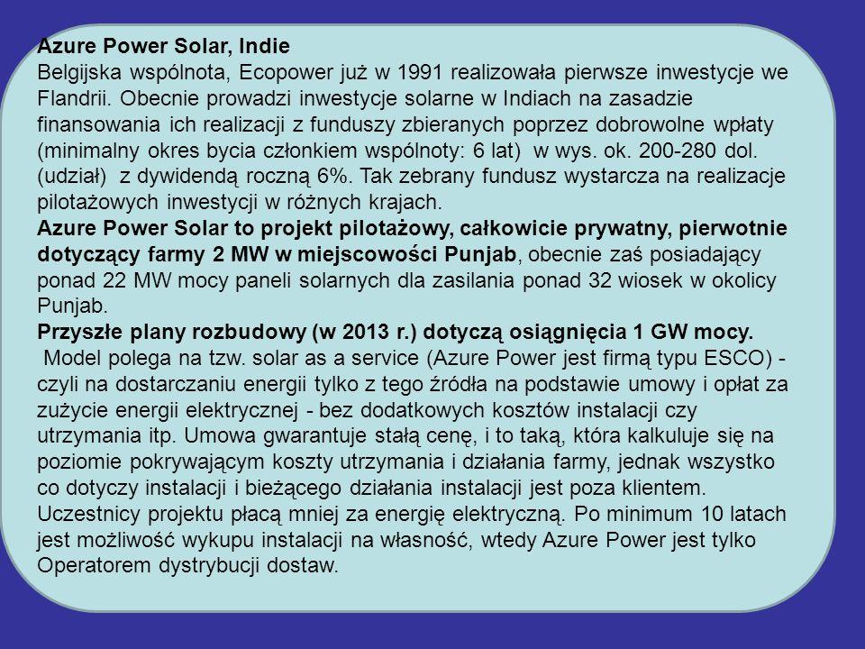 Azure Power Solar, Indie Belgijska wspólnota, Ecopower już w 1991 realizowała pierwsze inwestycje we Flandrii. Obecnie prowadzi inwestycje solarne w I