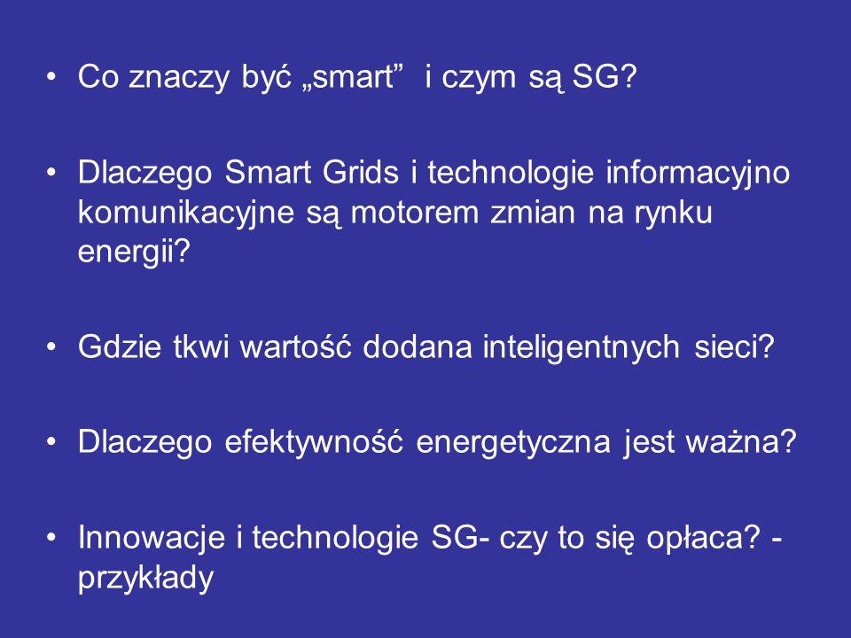 Co znaczy być smart i czym są SG? Dlaczego Smart Grids i technologie informacyjno komunikacyjne są motorem zmian na rynku energii? Gdzie tkwi wartość