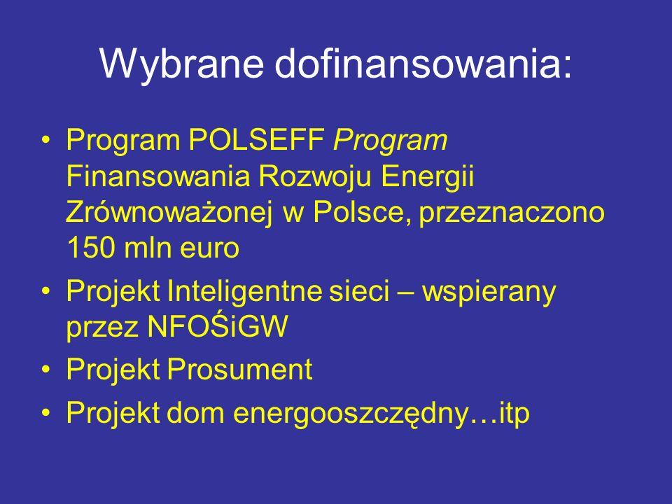 Wybrane dofinansowania: Program POLSEFF Program Finansowania Rozwoju Energii Zrównoważonej w Polsce, przeznaczono 150 mln euro Projekt Inteligentne si