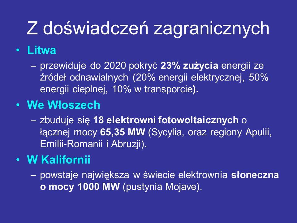 Z doświadczeń zagranicznych Litwa –przewiduje do 2020 pokryć 23% zużycia energii ze źródeł odnawialnych (20% energii elektrycznej, 50% energii cieplne