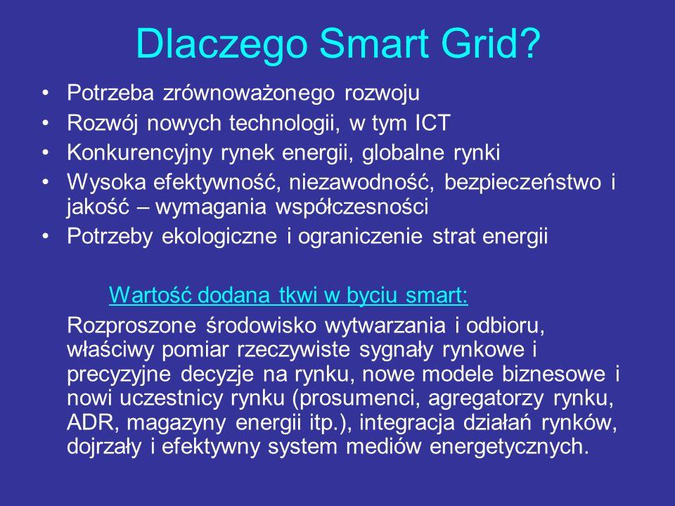 Dlaczego Smart Grid? Potrzeba zrównoważonego rozwoju Rozwój nowych technologii, w tym ICT Konkurencyjny rynek energii, globalne rynki Wysoka efektywno