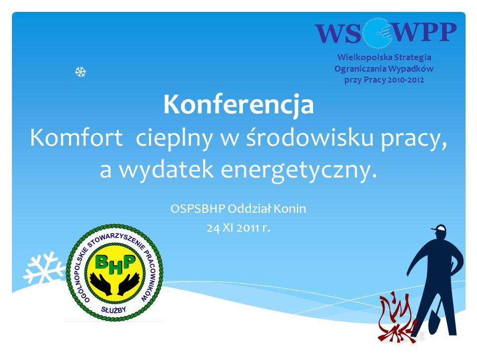 WS WPP Wielkopolska Strategia Ograniczania Wypadków przy Pracy 2010-2012 Konferencja Komfort cieplny w środowisku pracy, a wydatek energetyczny. OSPSB