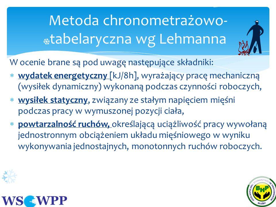 WS WPP W ocenie brane są pod uwagę następujące składniki: wydatek energetyczny [kJ/8h], wyrażający pracę mechaniczną (wysiłek dynamiczny) wykonaną pod