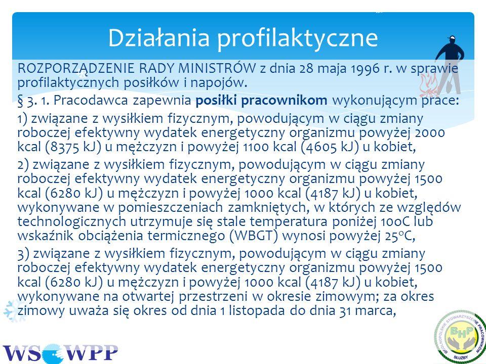 WS WPP ROZPORZĄDZENIE RADY MINISTRÓW z dnia 28 maja 1996 r. w sprawie profilaktycznych posiłków i napojów. § 3. 1. Pracodawca zapewnia posiłki pracown